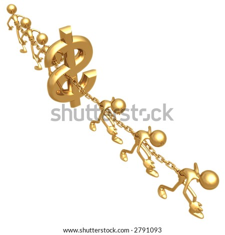 Chained To Dollar - stock photo