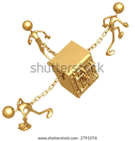 Chained To Safe - stock photo