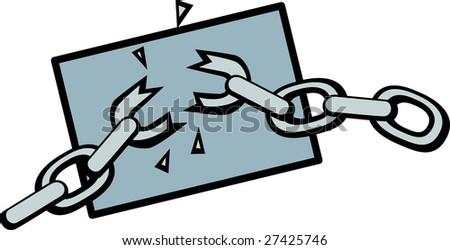 chains breaking - stock photo