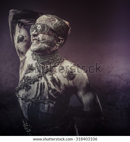 Chains, concept bdsm, slave and master, naked man - stock photo