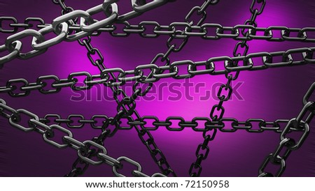 chains on the violet background 3d abstract - stock photo