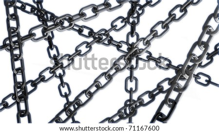 chains on the white background 3d abstract