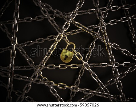 chains with golden lock on the dark background - stock photo