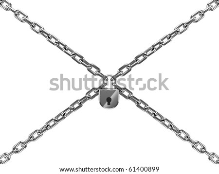 chains with lock isolated on white background - stock photo