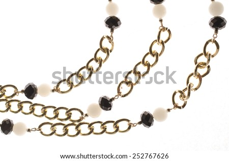 Chains with stones on a white background