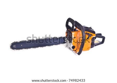 Chainsaw isolated on the white background - stock photo
