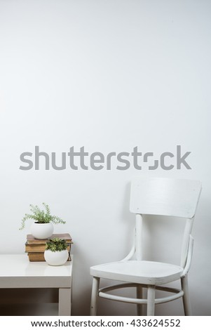 chair and empty wall background, interior art poster mock up
