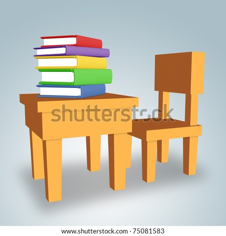 Chair and table with colored books. - stock photo