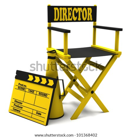 Chair director, movie clapper and a megaphone on white background. - stock photo