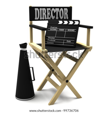 Chair director, movie clapper and megaphone on white background. - stock photo