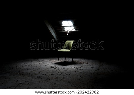 Chair in an abandoned room / Chair - stock photo