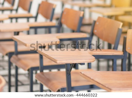 Chair in empty classroom, lecture chairs in school