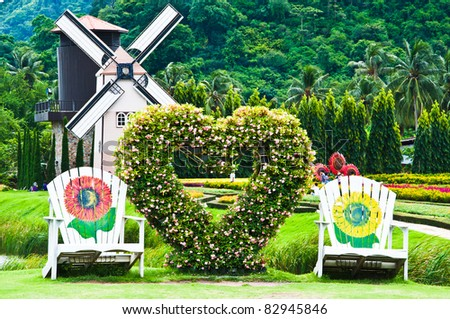 chair in love garden - stock photo