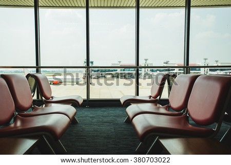 Chair in the terminal. - stock photo
