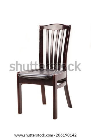 chair isolated on white with signs of wear and tear - stock photo