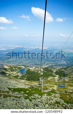 Chair lift at Lomnicky peak in High Tatras mountains, Slovakia