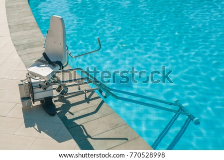 chair lift device disabled people outdoor stock photo royalty free