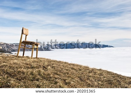 chair over clouds - stock photo