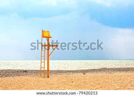chair referee in the playground on the beach - stock photo