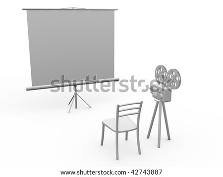 Chair screen and projector on white background - stock photo