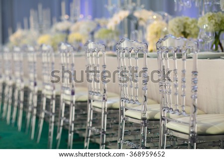 chair set for wedding or another catered event dinner - stock photo