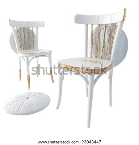 Chair. The traditional restored wooden kitchen chair isolated on a white background
