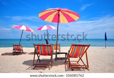 chair under umbella on the beach thailand