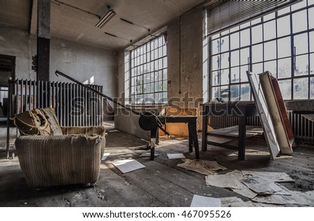 chair with old tools in a factory