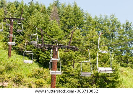 Chairlift in the mountains in summer