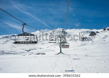 Chairlift in winter resort from formigal - stock photo