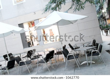 chairs and shops in Barcelona. Diagonal  made for a dynamic image