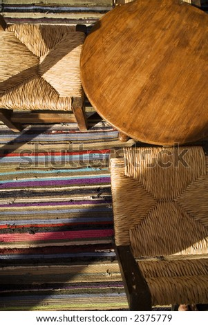 chairs and table  where people can smoke hookah - stock photo