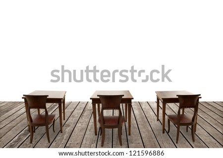 chairs and tables on wooden floor - stock photo