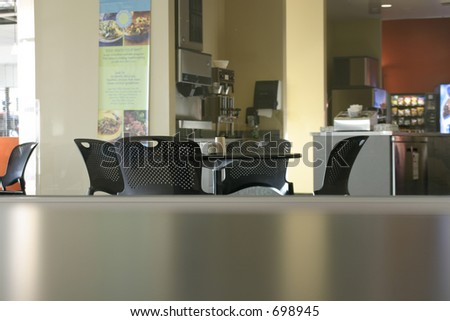 Chairs and the Empty Cafeteria - stock photo