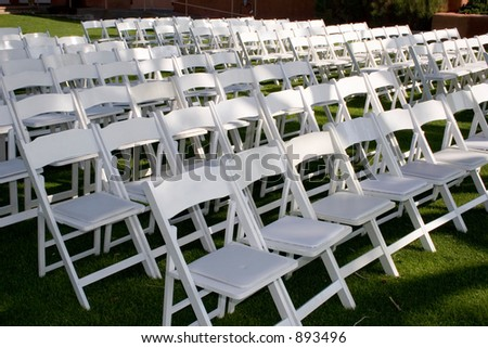 chairs are set up for the ceremony