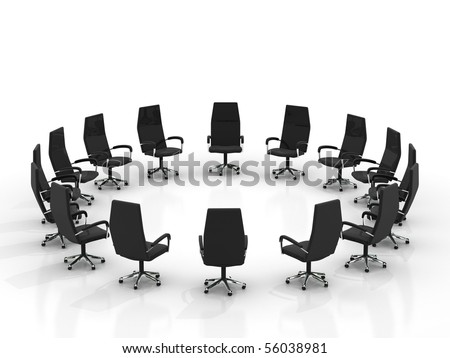 chairs arranging round large group isolated on white background - stock photo