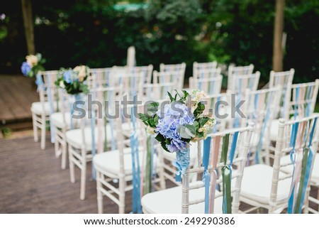 chairs from wedding ceremony - stock photo