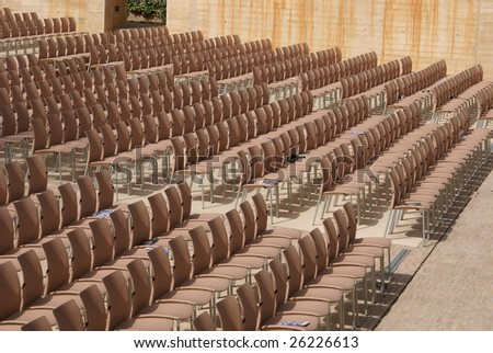 Chairs in lines. Chairs of a theatre or theater for party, concert, or play