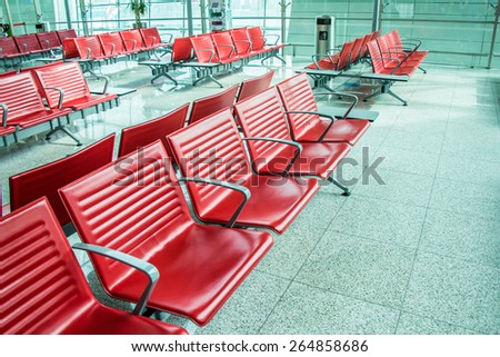 Chairs in the airport lounge area - stock photo