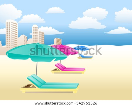 chairs with umbrellas on the beach with clouds and houses. JPG version - stock photo