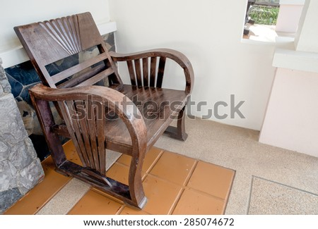 chairs wood at a hotel - stock photo
