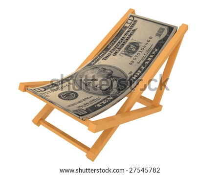 Chaise longue made of money. Isolated on white background. - stock photo