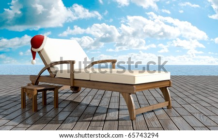 chaise loune in front of sea with Santa Claus hat
