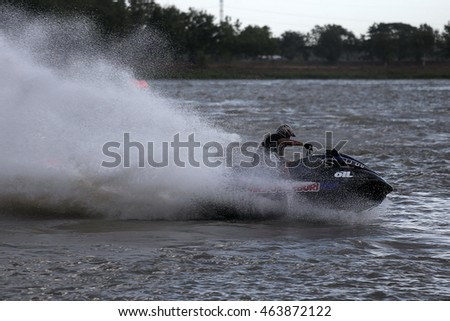 CHAIYAPHUM, THAILAND; The jet ski competition in the lake at Chaiyaphum province in 2014.