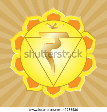 chakra series: manipura or solar plexus chakra symbol - stock photo