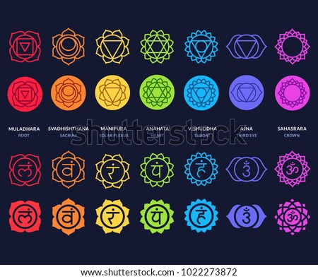 Chakra Symbols Set On Dark Background Stock Illustration 1022273872