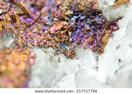 Chalcopyrite in quartz, It has the chemical formula (CuFeS2). Copper iron sulphide mineral. Macro. Beautiful fantastic background for successful business projects and other Your variant.  - stock photo