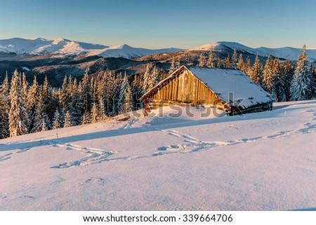 chalet in the mountains.Carpathians, Ukraine, Europe - stock photo
