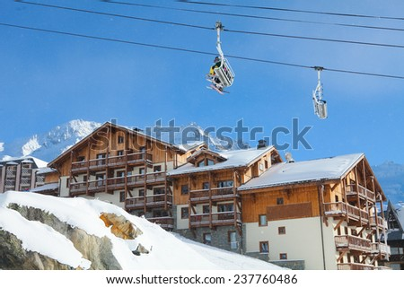Chalets in Val Thorens, trois vallees complex, France - stock photo
