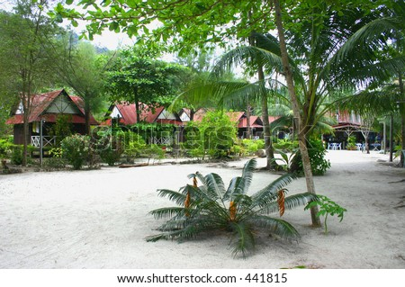 Chalets on an island - stock photo